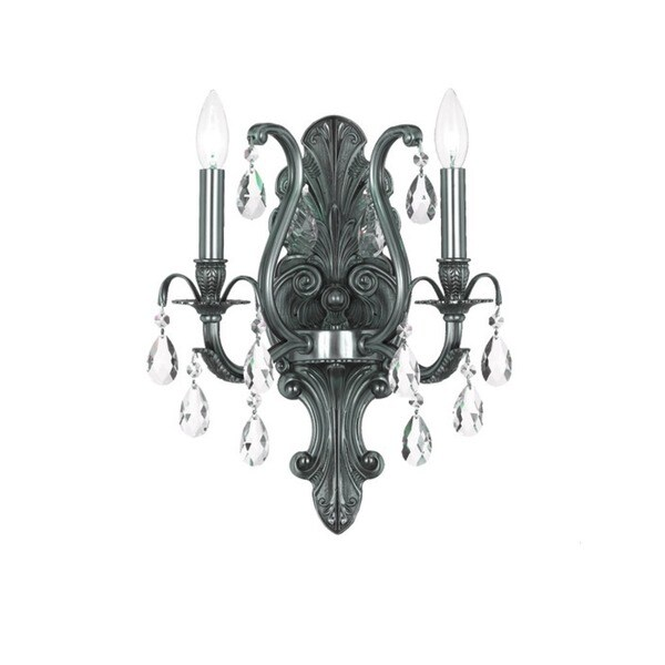 Crystorama Dawson Collection 2-light Pewter/Crystal Wall Sconce