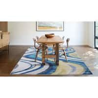 Modern Wavy Like Pattern Power-loomed Various Shades of Blue Yelow and Grey Polypropylene Area Rug - 8' x 11'