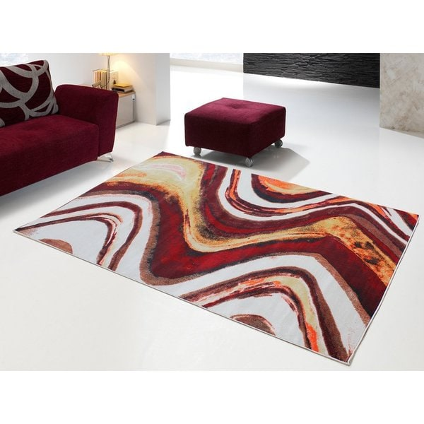 Red/Yellow Polypropylene Power-loomed Area Rug - 8' x 11'