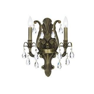 Crystorama Dawson Collection 2-light Antique Brass/Swarovski Spectra Crystal Wall Sconce