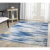 Vibrant Power-loomed Various Shades of Yellow Blue Beige and Grey Polypropylene Area Rug - 8' x 11'