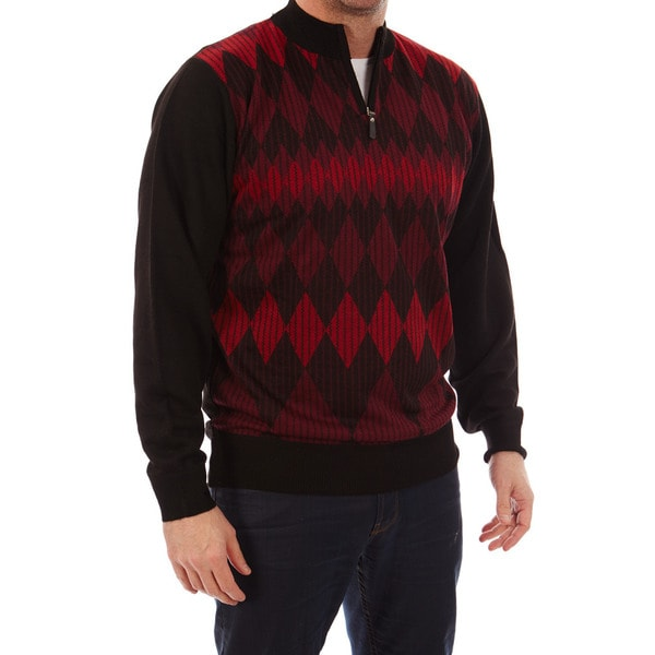 Dinamit Jeans Mens Cardinali Argyle Quarter-zip Sweater