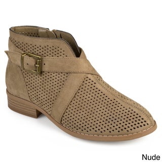 Journee Collection Women's 'Reggi' Stacked Heel Laser Cut Buckle Booties (More options available)