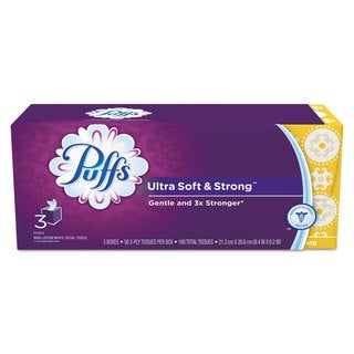 Puffs Ultra Soft and Strong Facial Tissue White 2-Ply 56/Box 3 Box/Pack 8 Pack/Carton