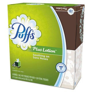 Puffs Plus Lotion Facial Tissue White 1-Ply 8 1/5 inches x 8 2/5 inches 56/Box 24/Carton