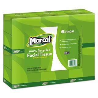 Marcal 100-percent Recycled Convenience Pack Facial Tissue WH 6 Boxes of 80/Pack 6 Packs/Carton