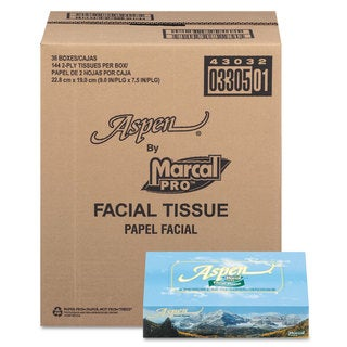 Marcal Aspen 100-percent Recycled Facial Tissue 2-Ply White 144 Sheet/Box