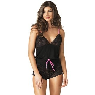 Leg Avenue Women's Seraphina Black Ultra Comfy Brushed Jersey and Lace Romper