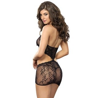 Leg Avenue Stretch Lace Illusion Nylon Chemise with Diamond Back Cut Out