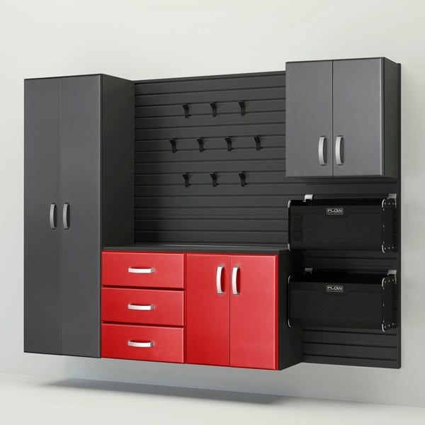 Flow Wall® 5pc Deluxe Storage Cabinet Set - Graphite/Red