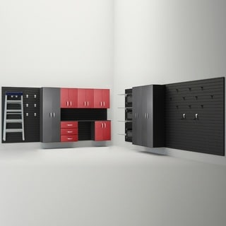 Flow Wall® 9pc Deluxe Cabinet Storage Set - Graphite/Red