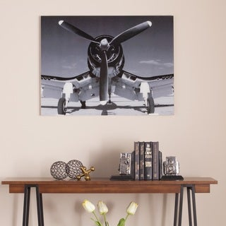 Harper Blvd Single Propeller Airplane Glass Wall Art
