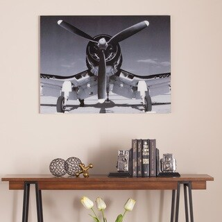 Harper Blvd Single Propeller Airplane Glass Wall Art
