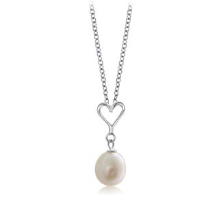 Pearlyta Sterling Silver Heart Teenage Necklace with Hanging Pearl (7 - 8mm) - White