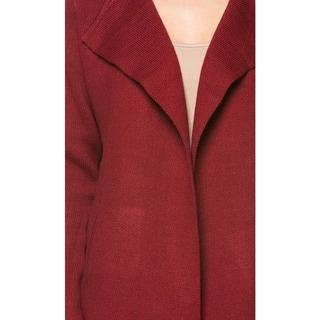 High Secret Women's Burgundy Acrylic Knit Open Front Cardigan