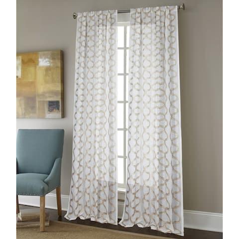 Sherry Kline Burlingame Luxury Embroidered Rod Pocket Sheer Curtain Panel Pair - 52 x 96