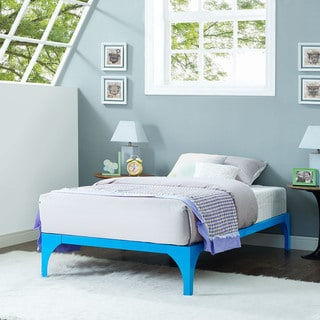 Ollie Light Blue Steel Twin-Size Platform Bed