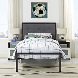 Lottie Brown Steel Grey Upholstered Twin-size Platform Bed