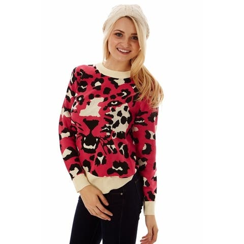 Dinamit Women's Soft Knit Leopard Print Sweater