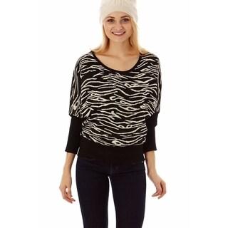 Jon Anna Women's Nylon and Acrylic Dolman-sleeve Melange-print Sweater