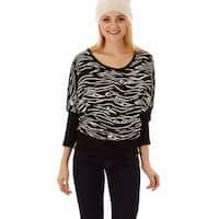 Jon & Anna Women's Nylon and Acrylic Dolman-sleeve Melange-print Sweater