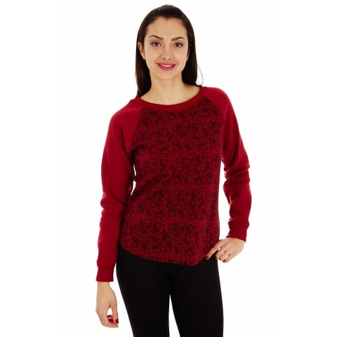 Dinamit Women's Cotton Candy Flowers Printed Raglan Sweatshirt