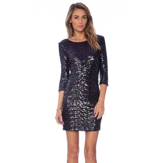 BB Dakota Villiette Black Rayon Sequin Dress