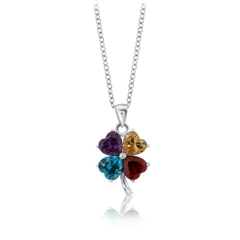 Pearlyta Sterling Silver Multicolored Cubic Zirconia Heart Classic Pendant - White