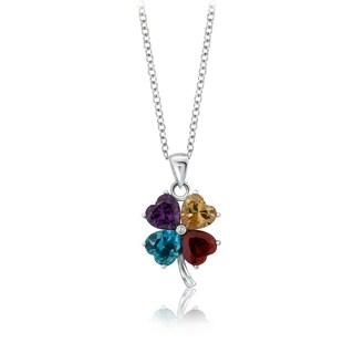 Pearlyta Sterling Silver Multicolored Cubic Zirconia Heart Classic Pendant