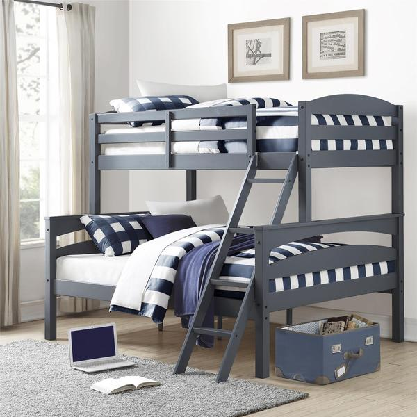 Dorel Living Brady Grey Twin Over Full Bunk Bed Free