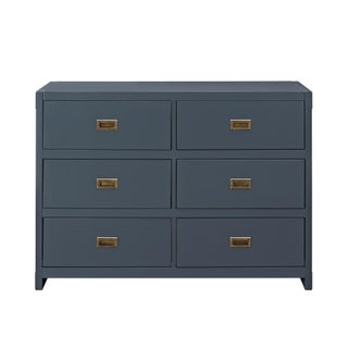 Avenue Greene Jordan Wood 6-drawer Dresser (Option: Painted/Brass Finish/Blue Finish - Blue)