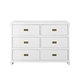 Avenue Greene Jordan Wood 6-drawer Dresser (Option: Painted/White Finish/Brass Finish - White)