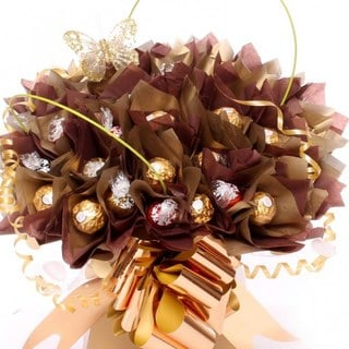Ferrero Rocchers and lindor 'My Hero in Gold' Chocolate Bouquet