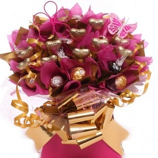 Fuchsia Gold Lindt Bouquet