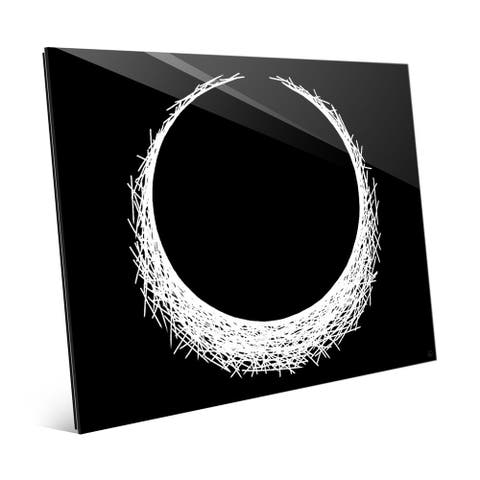 H Eclipse White on Print on Glass Black Wall Art