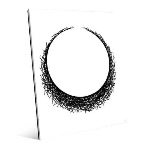 V Eclipse Black on White Print Glass Wall Art