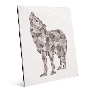 'Crystal Wolf On White' Glass Print Wall Art