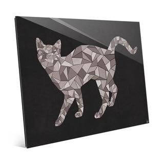 'Crystal Cat On Black' Glass Print Wall Art