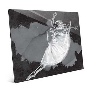 'Ballet Dancer on Black' Glass Wall Art Print