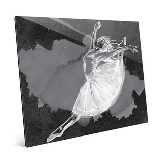 'Ballet Dancer on Black' Glass Wall Art Print
