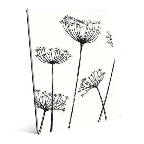 'Meadow Flowers' Black on White Glass Wall Art