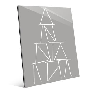 'Card Tower' White on Grey Wall Art Print on Glass