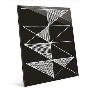 'Crosshatch' White on Black Wall Art Print on Glass