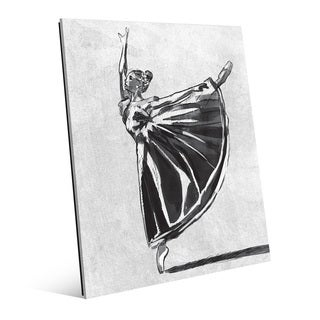 'Ballet Balance' Grey Glass Wall Art