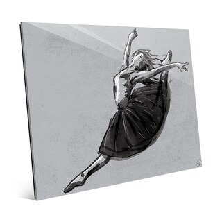 'Ballet Jete' Grey Glass Wall Art