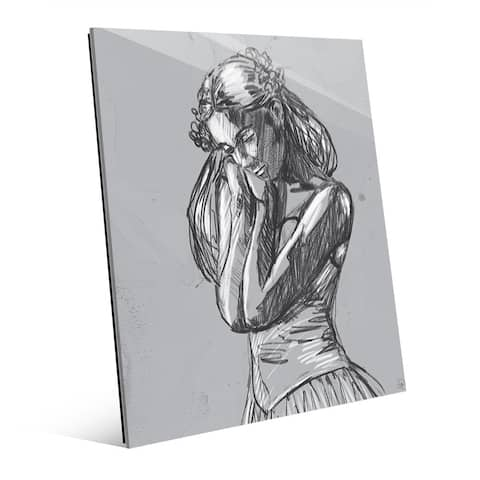 'Dancer Sketch on Grey' Glass Print Wall Art
