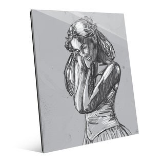 'Dancer Sketch on Grey' Glass Print Wall Art