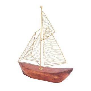 Benzara Gold Metal and Brown Wood 10-inch x 13-inch Boat
