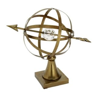 Benzara Brown Metal and Acrylic 18-inch x 15-inch Glass Globe