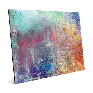 'Splatter City Teal Skies' Glass Wall Art